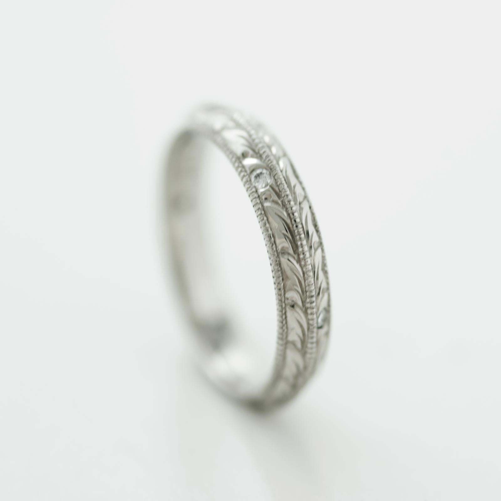 Split Leaf Diamond Wedding Band - Era Design Vancouver