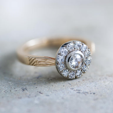 Georgian style conflict-free diamond halo ring in 14k yellow and white gold by Era Design, Vancouver