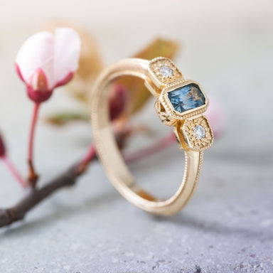 Nerida Diamond and Montana Sapphire Engagement Ring - Era Design Vancouver