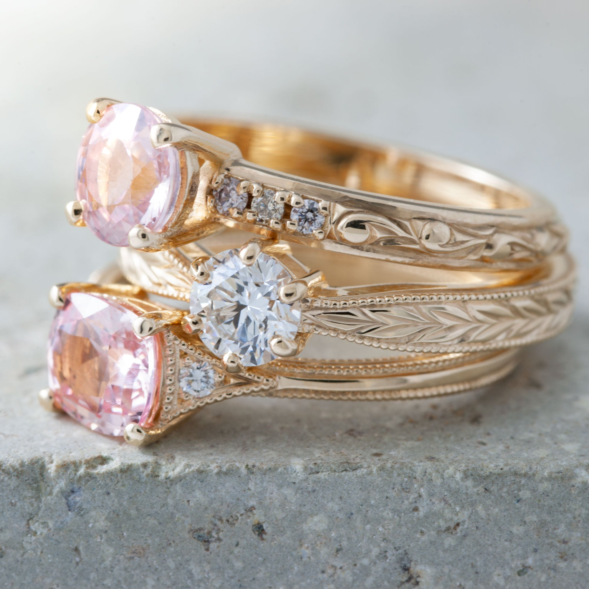 Peach Sapphire Cleo Sapphire Engagement Ring - Era Design Vancouver