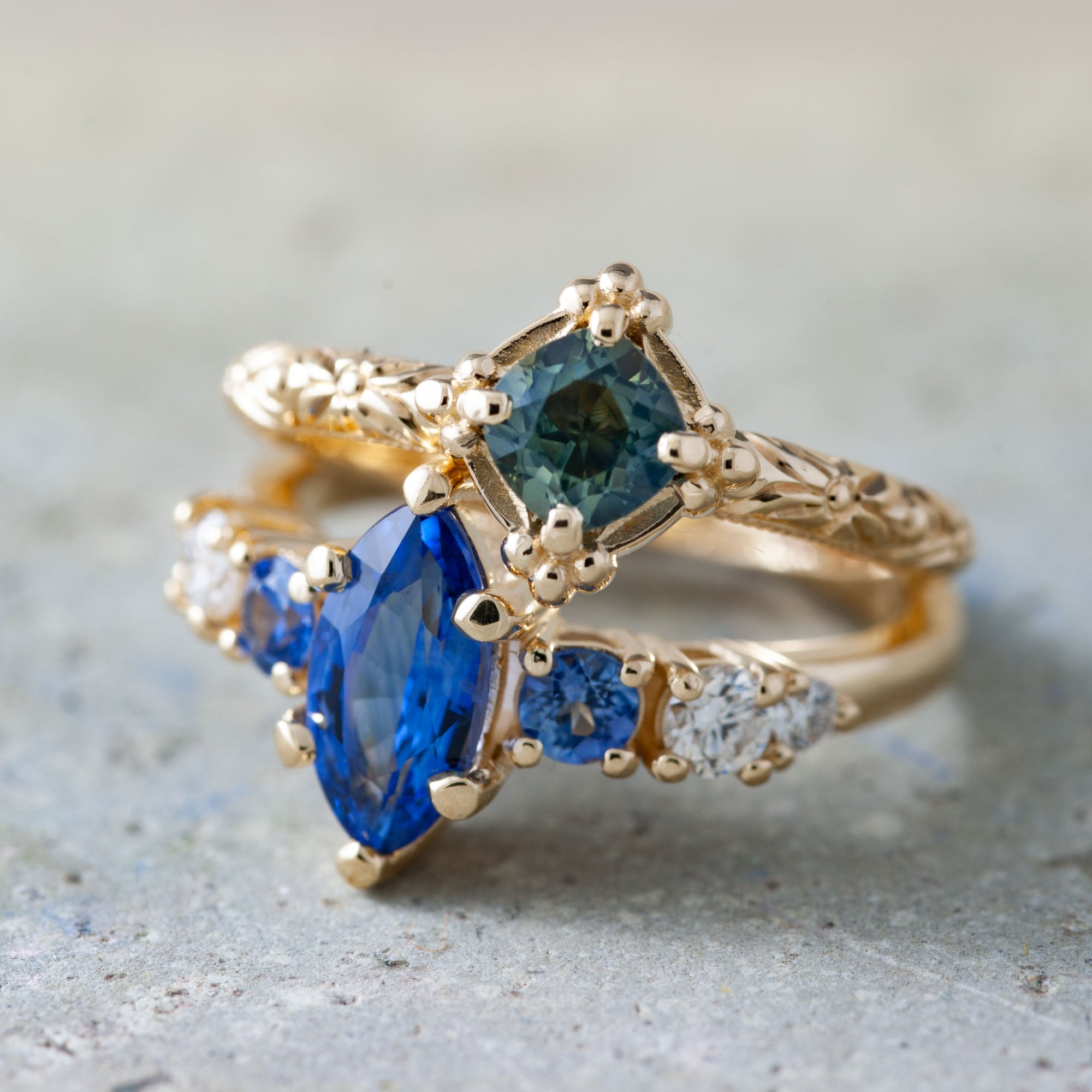 Agnes Diamond and Sapphire Engagement Ring - Era Design Vancouver