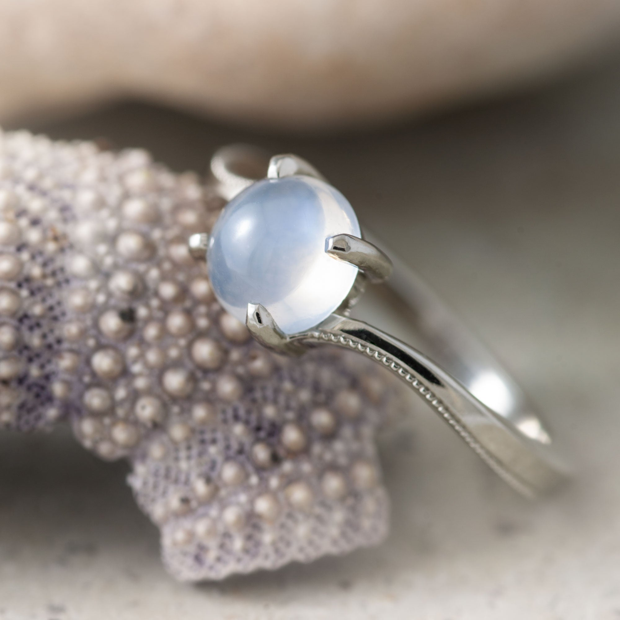 14kt white gold aisha moonstone cabochon solitaire engagement ring millgrain handcrafted era design vancouver