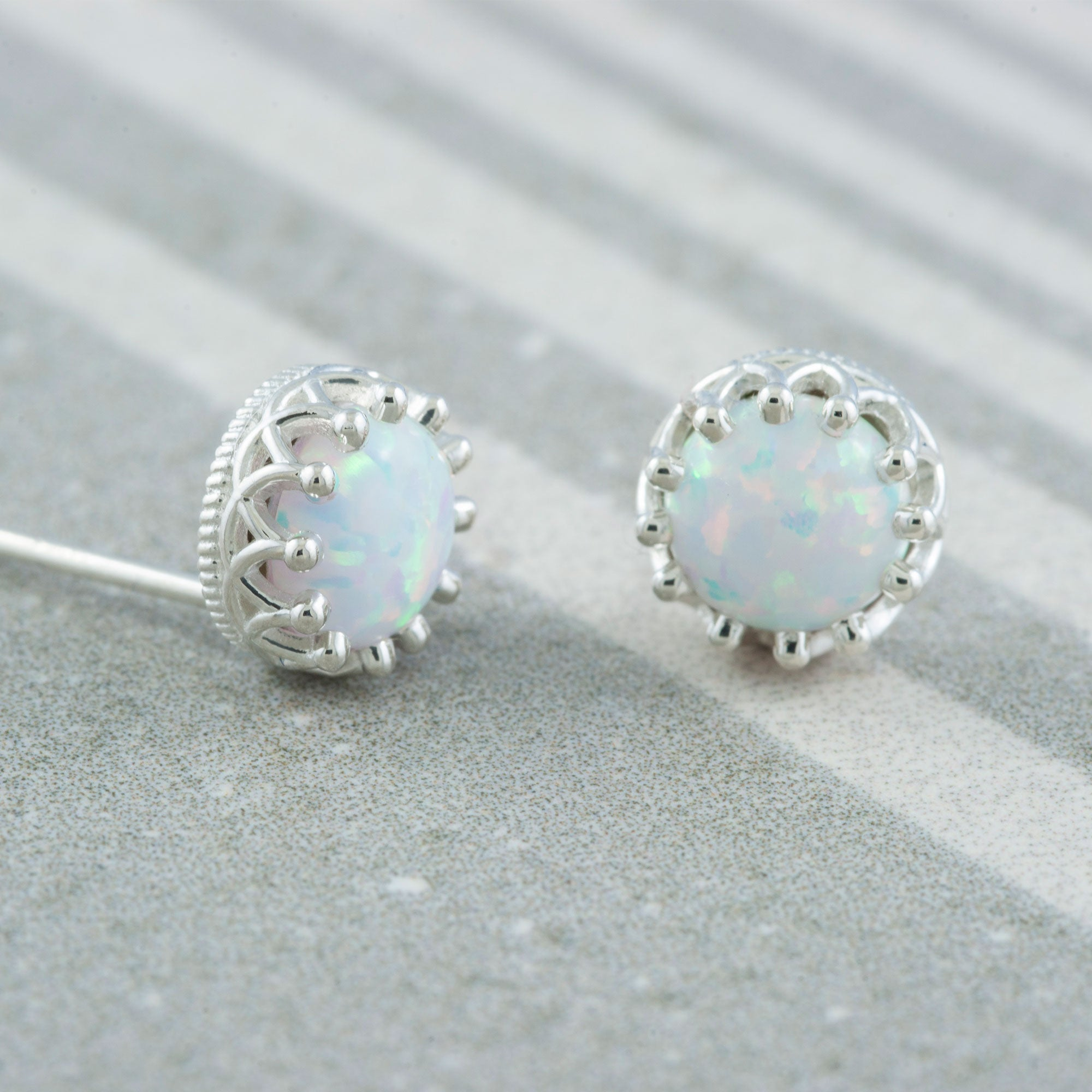 Sterling Silver Opal Stud Earrings | Era Design Vancouver Canada