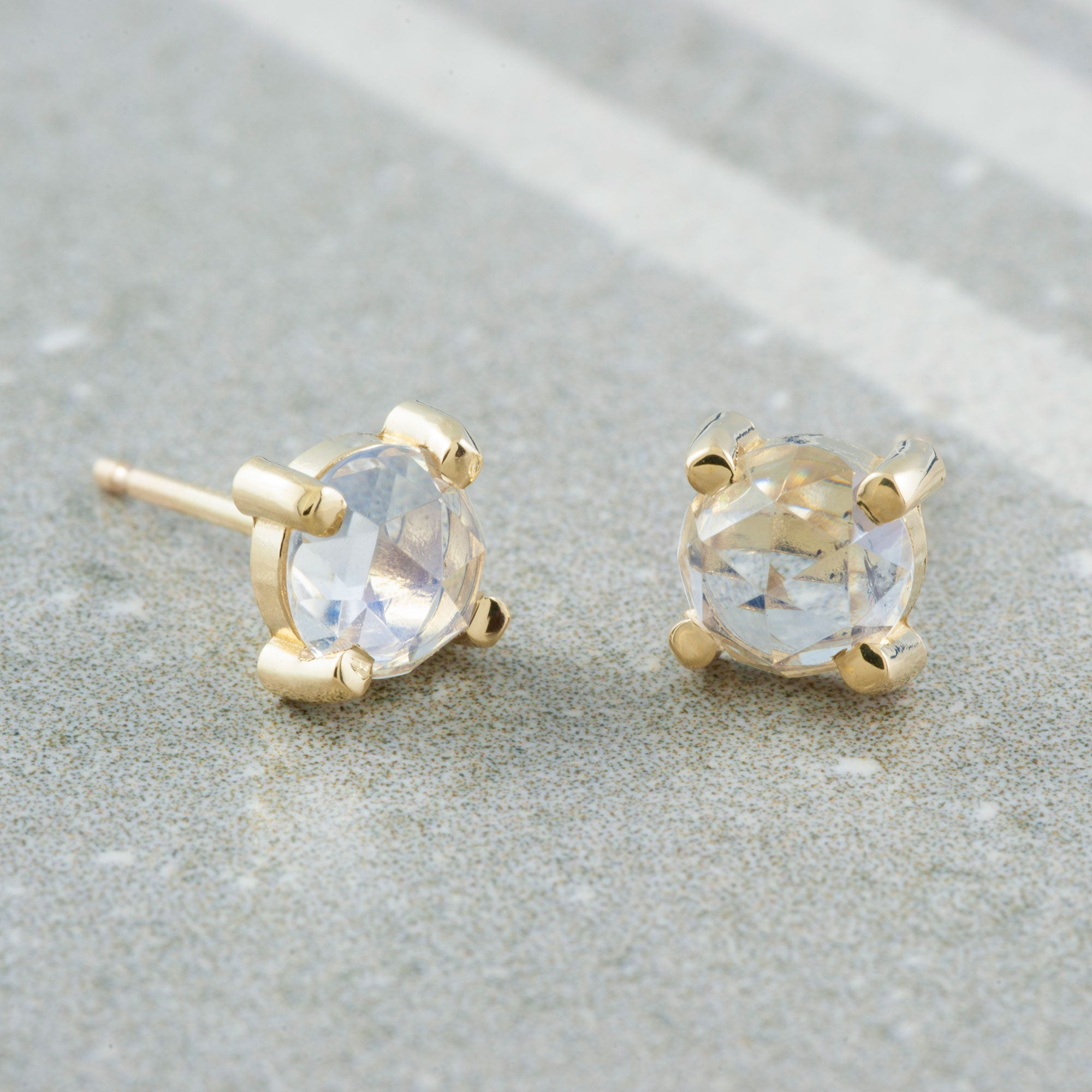 Rose Cut Moonstone Studs Gemstone Earrings - Era Design Vancouver