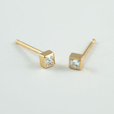 Square Diamond Bezel Studs Earrings - Era Design Vancouver