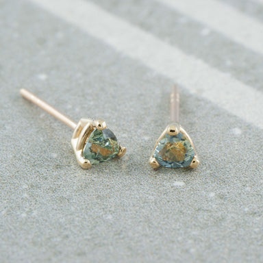 Trilliant Montana Sapphire 14k Gold Studs Earrings - Era Design Vancouver