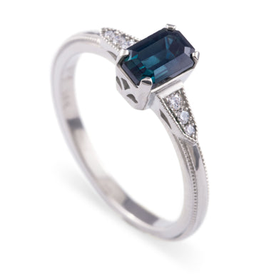 14kt white gold ella emerald cut deep blue Nigerian sapphire Canadian diamonds millgrain art deco style engagement ring era design vancouver