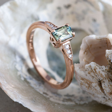 14kt rose gold emerald cut bu-coloured yellow green Australian sapphire Canadian diamonds engagement ring era design vancouver