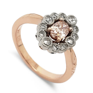 Pink Diamond Halo Engagement Ring | Era Design Vancouver Canada