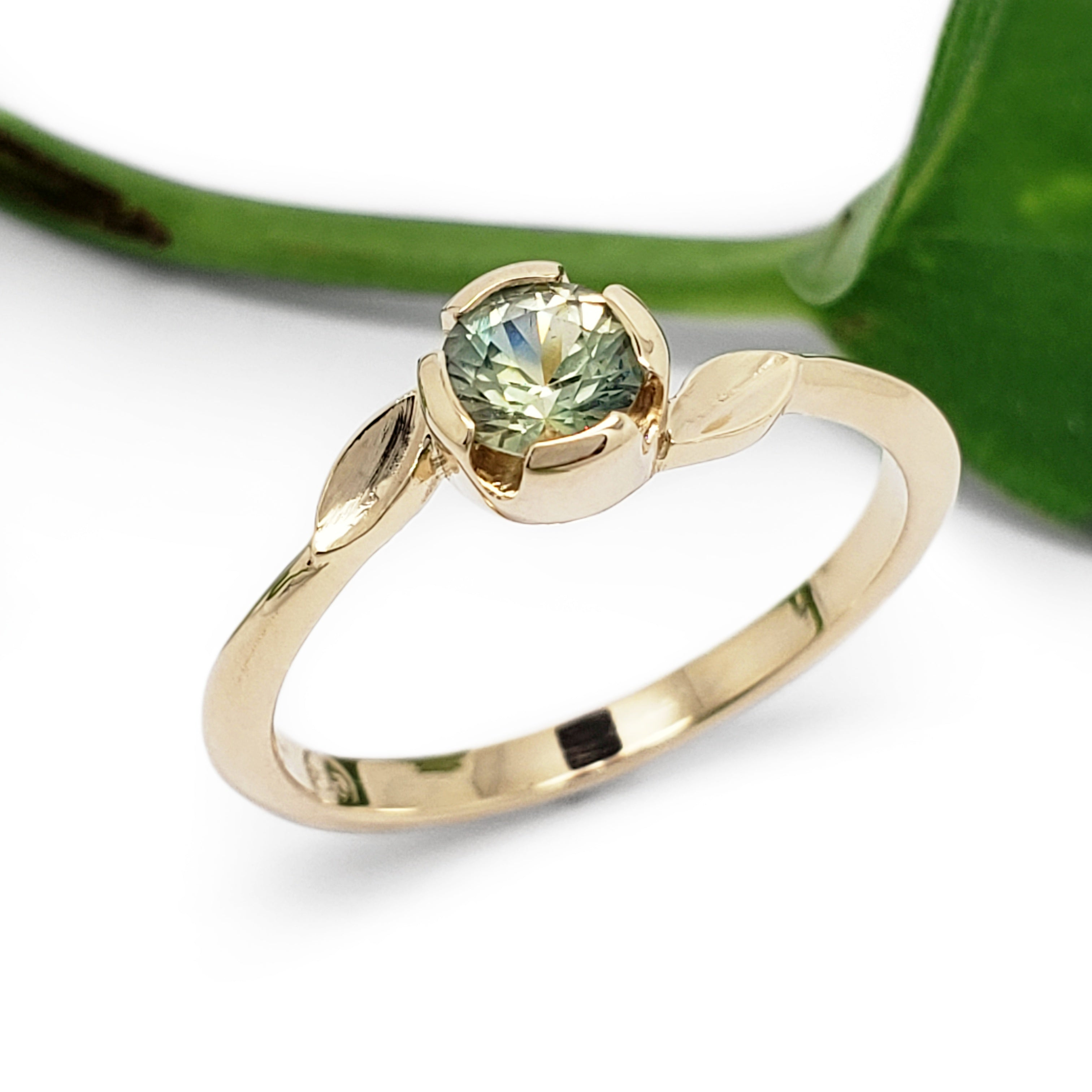 Green Sapphire Engagement Ring | Era Design Vancouver Canada