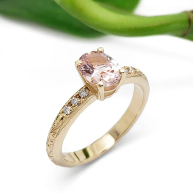 Peach Sapphire Engagement Ring | Era Design Vancouver Canada