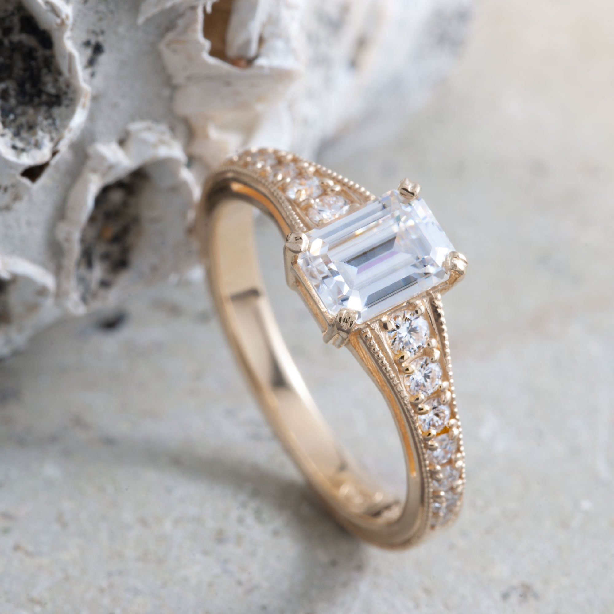 Yellow Gold Moissanite Engagement Ring | Era Design Vancouver Canada