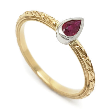 Yellow Gold Ruby Engagement Ring | Era Design Vancouver Canada