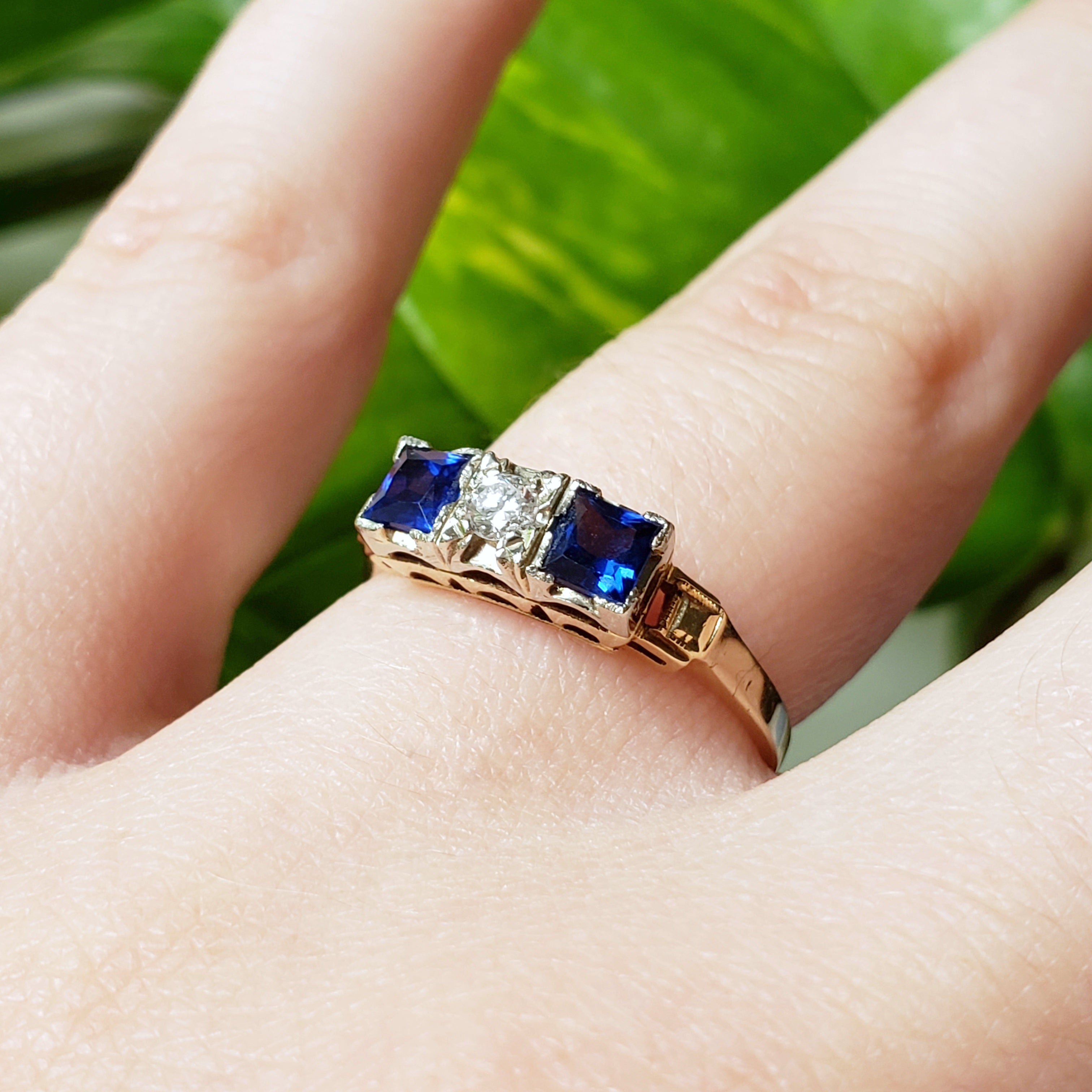 Vintage Blue Sapphire Diamond Engagement Ring | Era Design Vancouver Canada