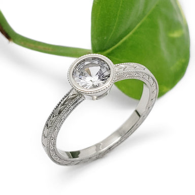 White Sapphire Engagement Ring | Era Design Vancouver Canada