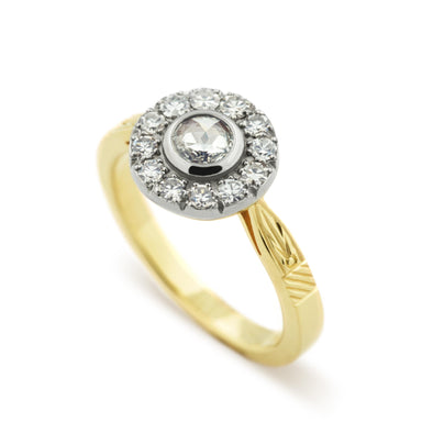 Georgian style ethically sourced diamond halo ring in 14k yellow and white gold by Era Design, Vancouver