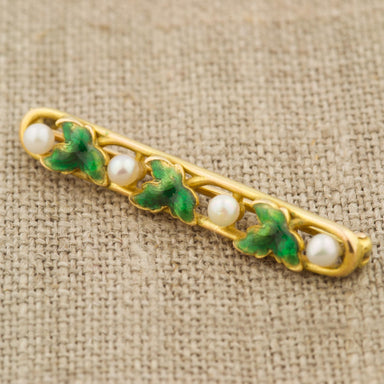 Vintage Enamel & Pearl Bar Pin Vintage Ring - Era Design Vancouver