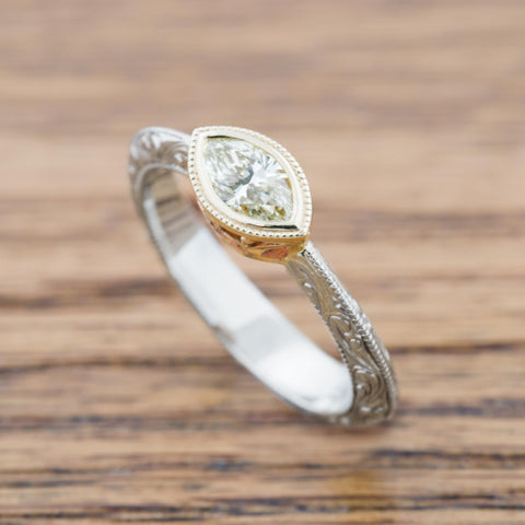unique marquis diamond engagement ring by Era Design in Vancouver