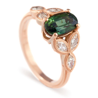14kt rose gold handcrafted unique marquis australis engagement ring oval green australian sapphire marquis diamonds era design