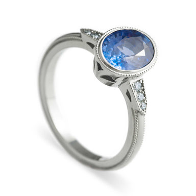 Big Oval Ella Diamond and Sapphire Engagement Ring - Era Design Vancouver