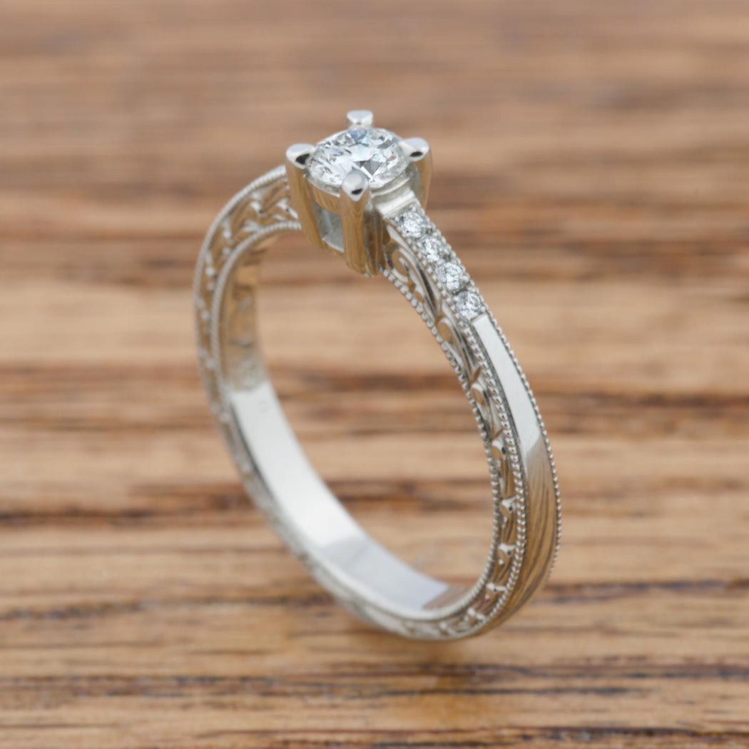Petite Fleur Engraved Diamond Wedding Band - Era Design Vancouver