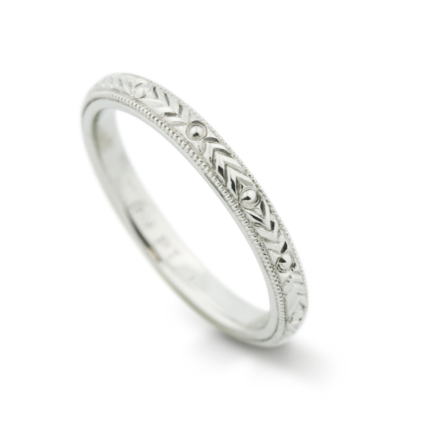 Herringbone Platinum Engraved Wedding Band - Era Design Vancouver