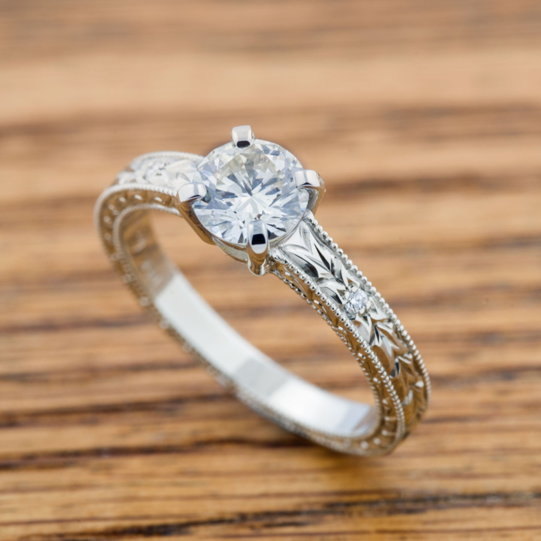 Annika Large Engraved Diamond Wedding Band - Era Design Vancouver