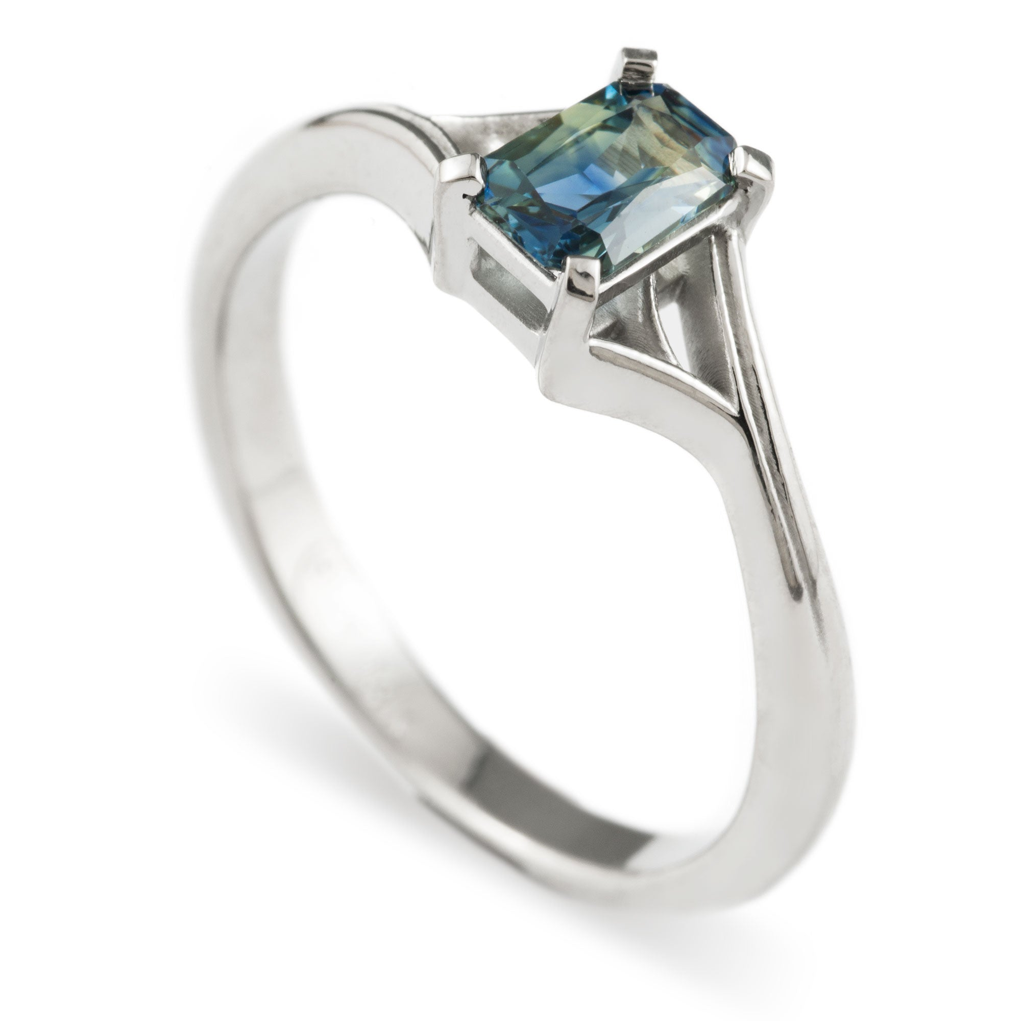 14kt white gold twig engagement ring emerald cut Australian sapphire solitaire era design