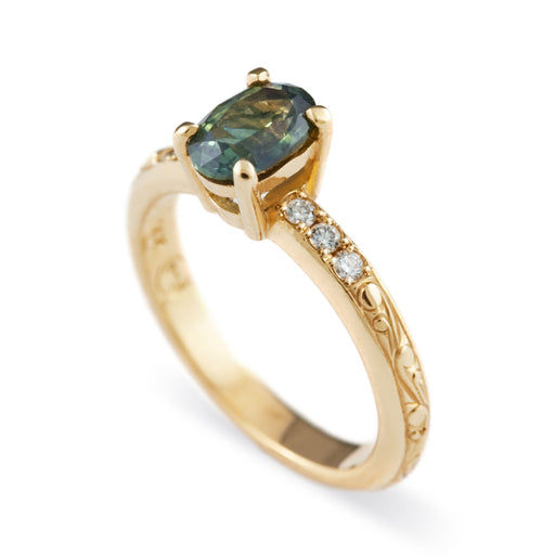 Oval Willow Green Diamond and Sapphire Engagement Ring - Era Design Vancouver