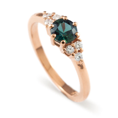 14kt rose gold Zira Nigerian sapphire deep teal blue green canadian diamonds polished 3 stone vintage ring era design vancouver