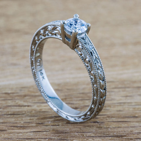 Engraved vintage style Canadian diamond engagement ring.