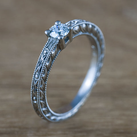 vintage style Canadian diamond engagement ring.