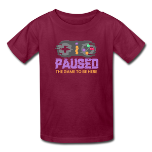 Kids' Paused the game T-Shirt - burgundy