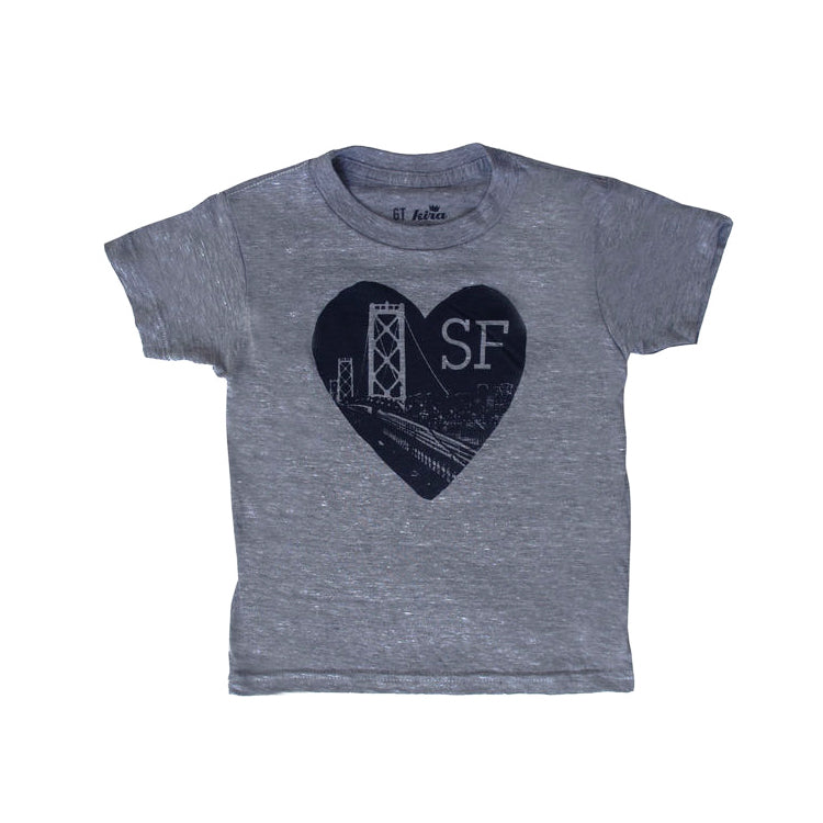 Heart SF Tee,  Dark Heather Grey