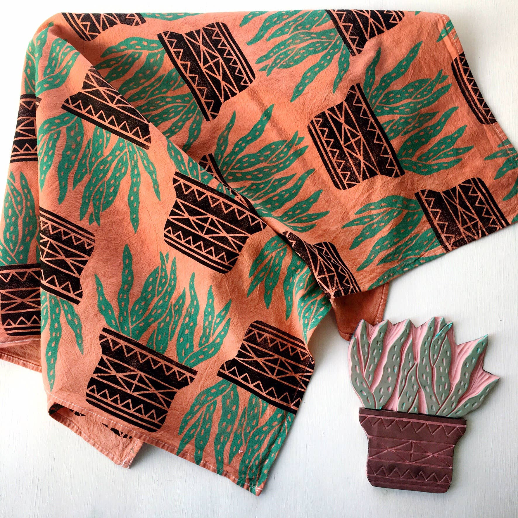 Andria Green: Aloe Vera Tea Towel, Terracotta