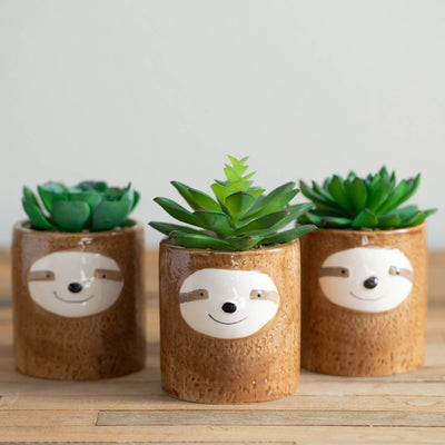 Flora Bunda: Sloth Buddy Ceramic Pot with Faux Succulent
