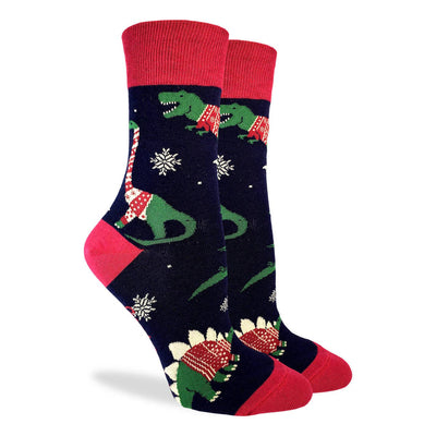 Good Luck Sock: Women's Christmas Sweater Dinosaur Socks