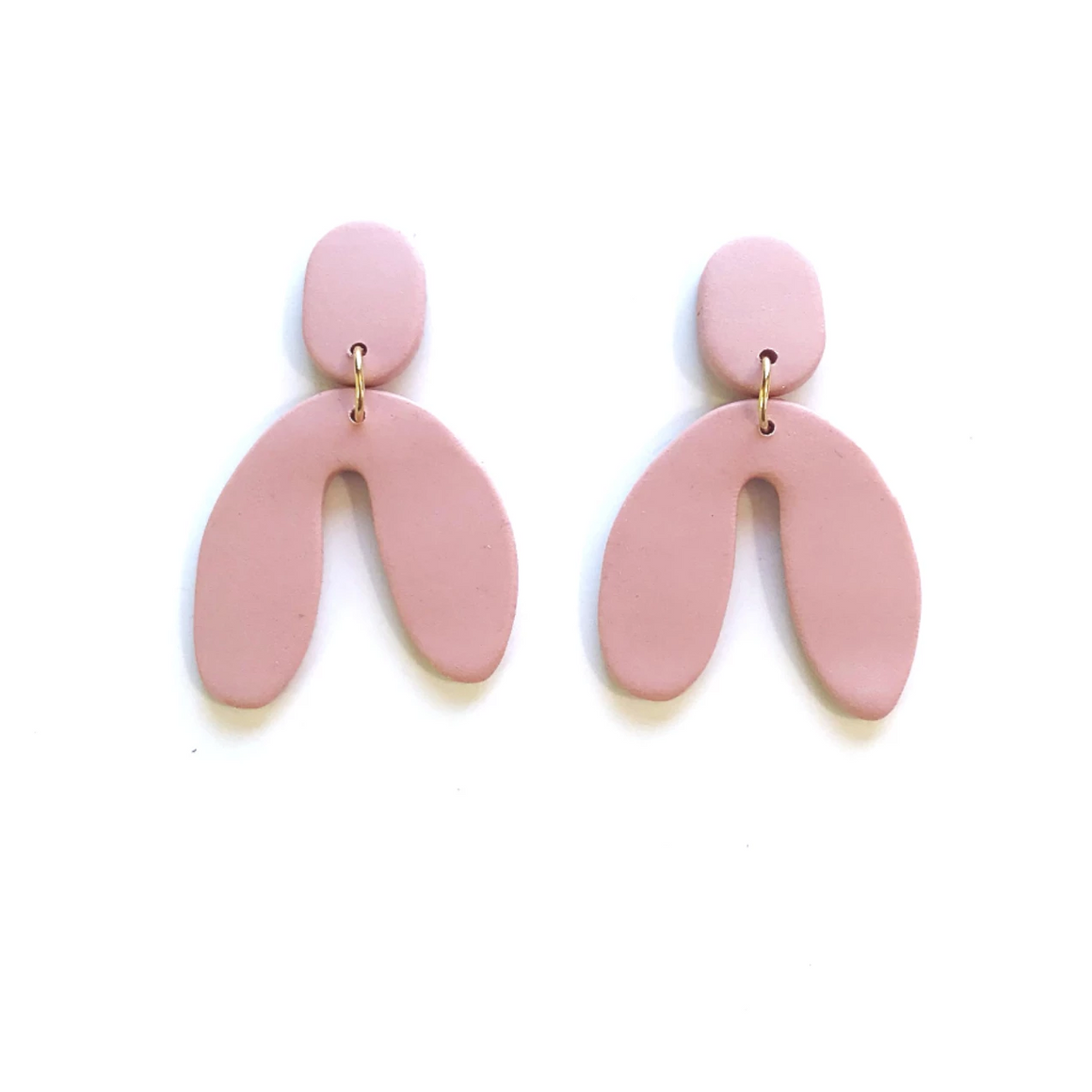 Sigfus Designs: Mini Wishbone Earrings - Dusty Rose