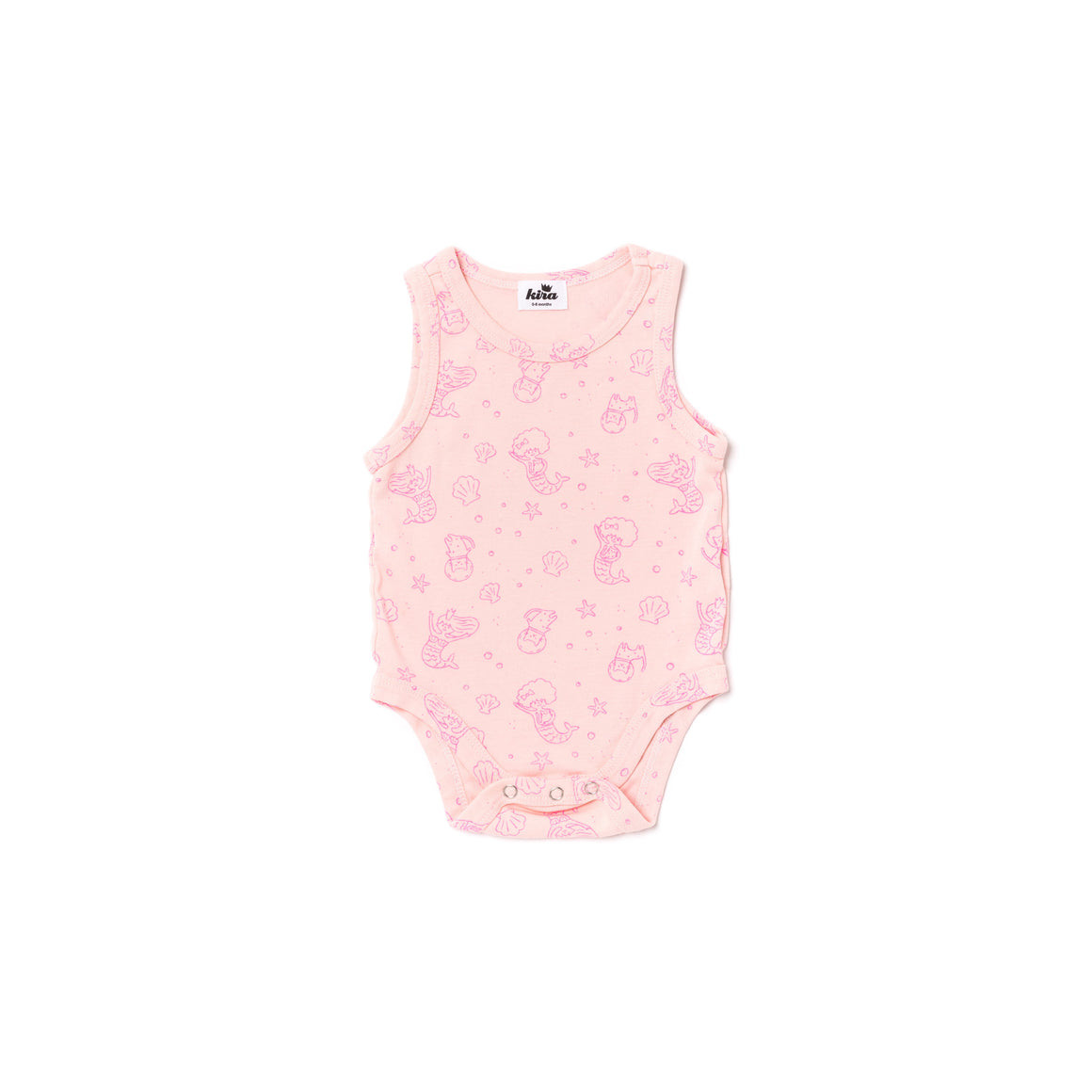 Mermaid Print Tank Onesie, Powder Pink