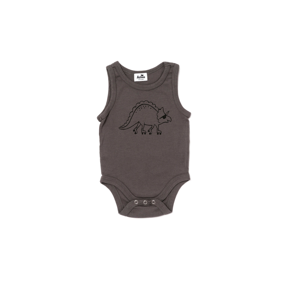 Dino Roller Graphic Tank Onesie, Slate Grey