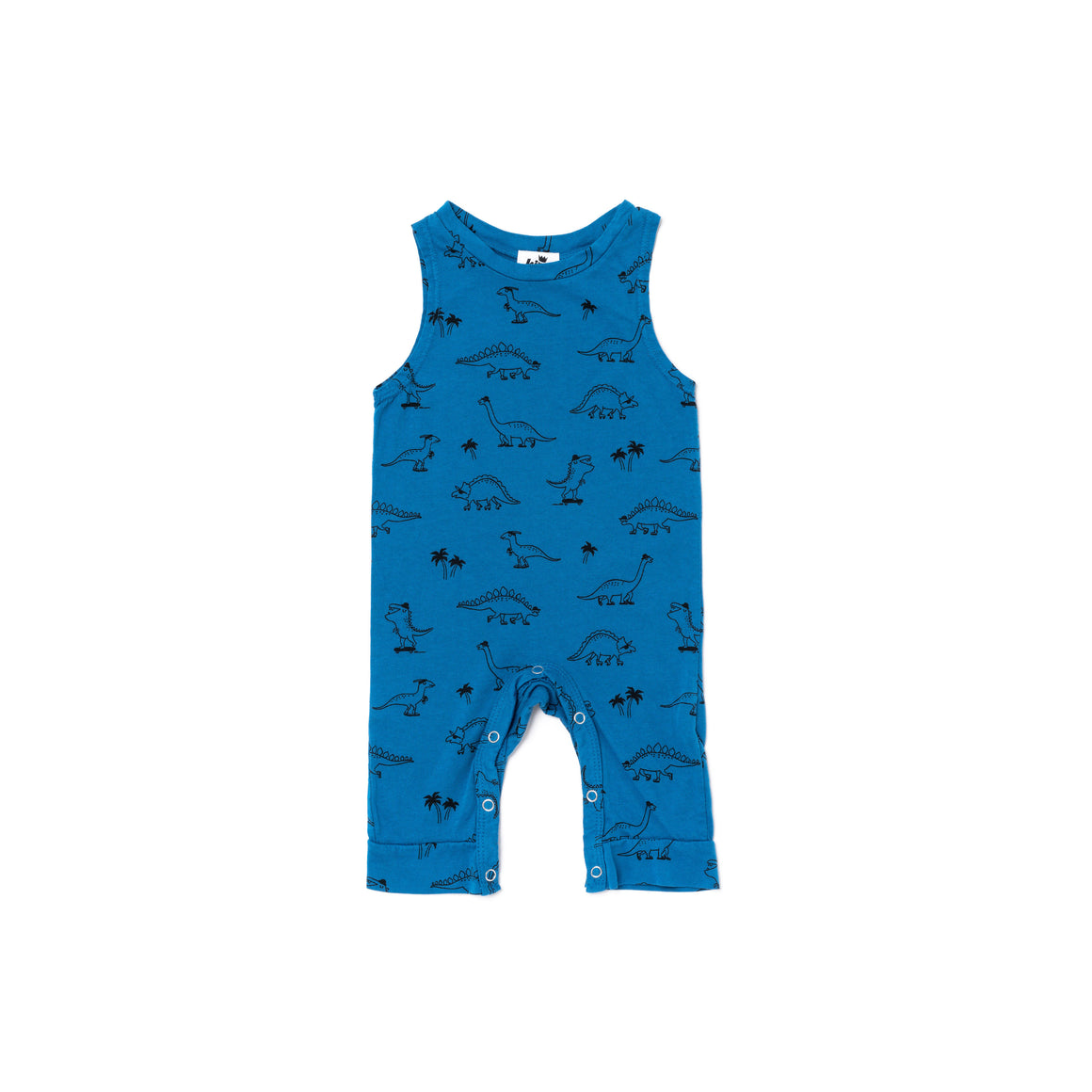 Dino Print Sleeveless Jumpsuit, Steel Blue