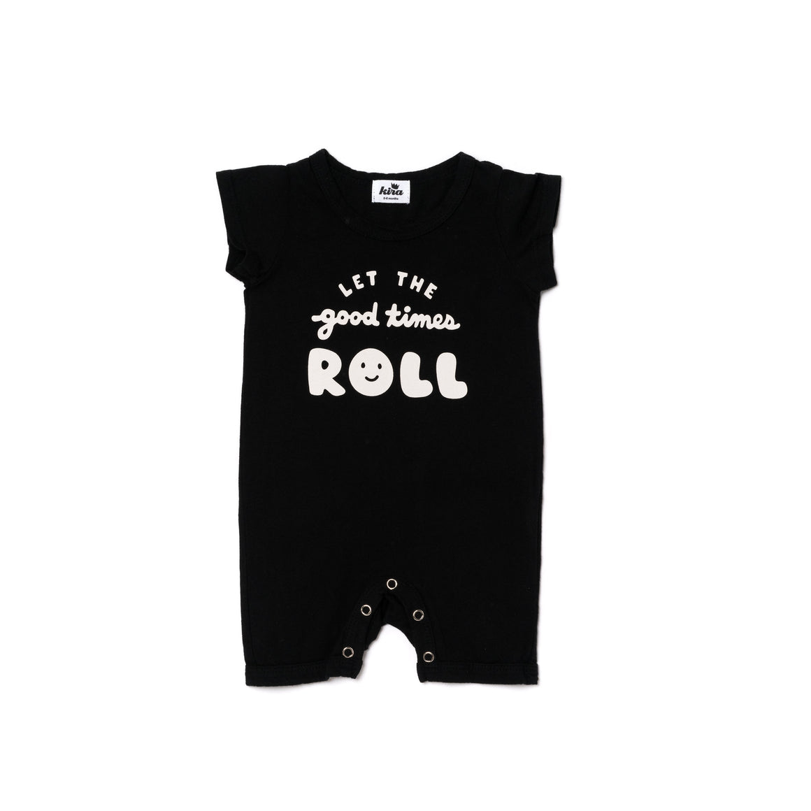 Let the Good Times Roll Graphic Shorts Romper, Black