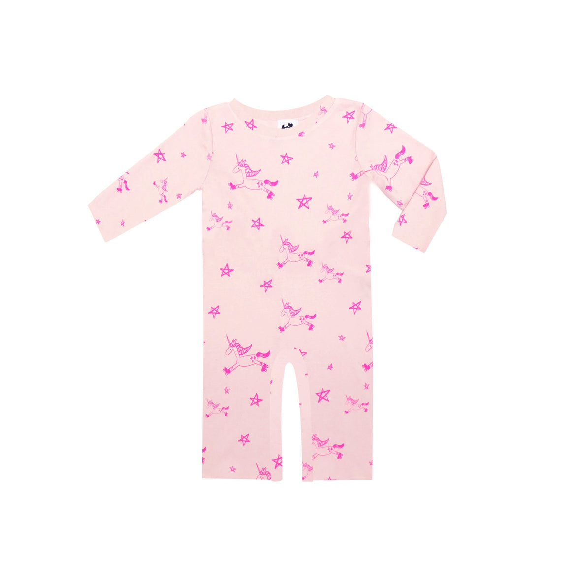 Unicorn Print Romper, L/S, Light Pink