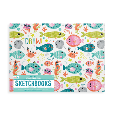 OOLY: Friendly Fish Doodle Pad Duo Sketchbooks. Set of 2