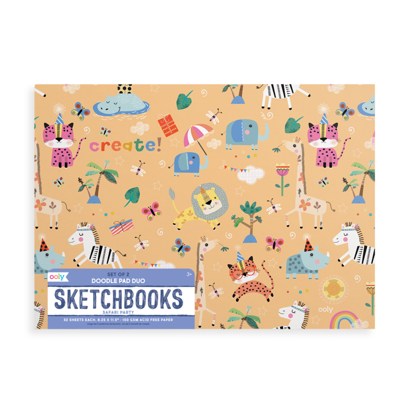 OOLY: Safari Party Doodle Pad Duo Sketchbooks. Set of 2