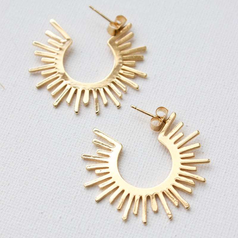 Katie Waltman Jewelry: Sun Silhouette Hoop Stud Earrings