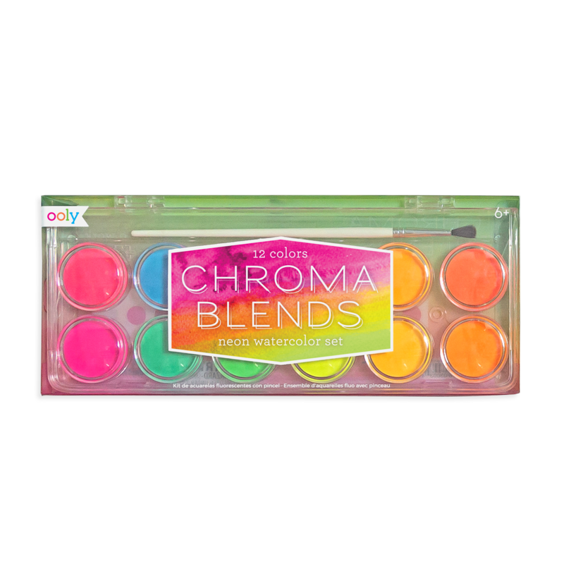 OOLY: Chroma Blends Neon Watercolor Paint - 13 PC Set