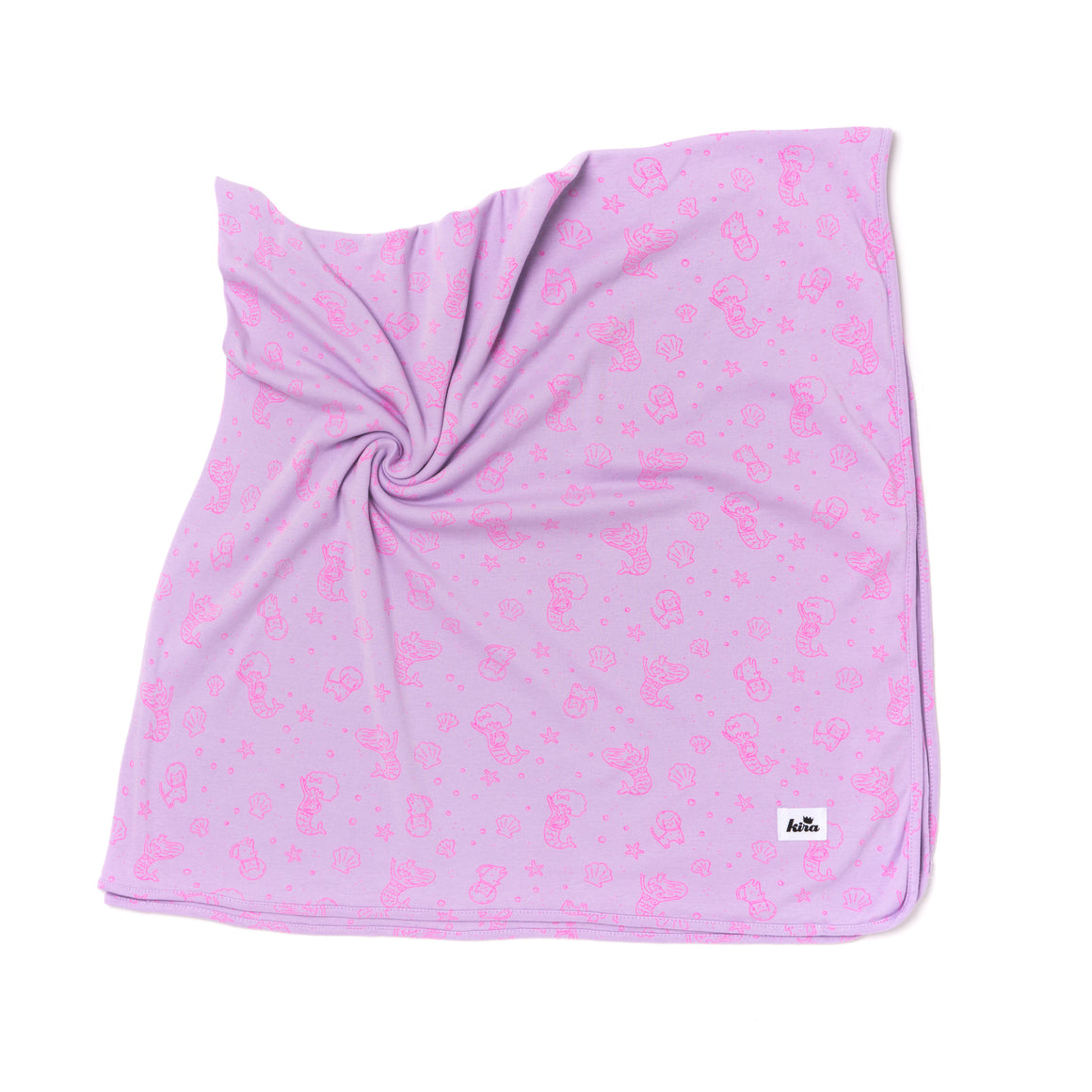 Mermaid Print Blanket, Pastel Violet