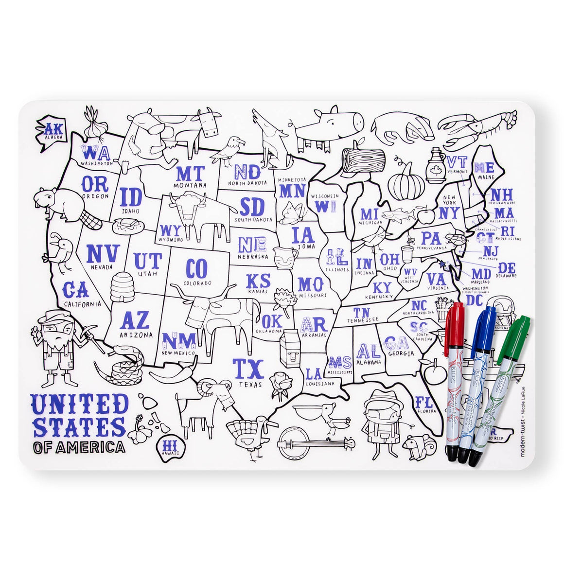 Modern-Twist: Mark-Mat Set - USA Map
