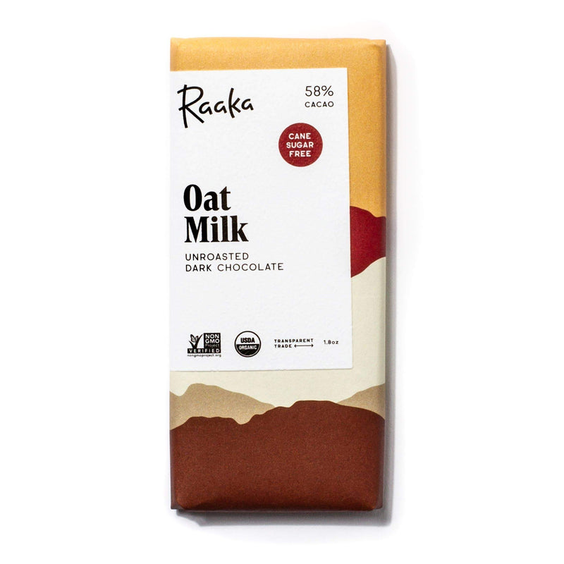 Raaka Chocolate: 58% Oat Milk Chocolate Bar